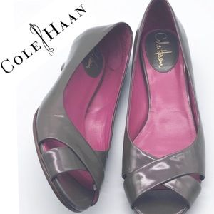 Cole Haan Iridescent Gray peep toe mini wedge 7.5